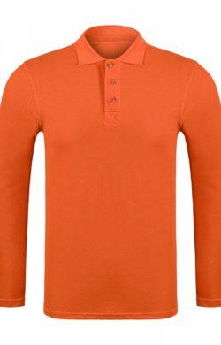 Поло мужское с длинным рукавом Classic оранжевое