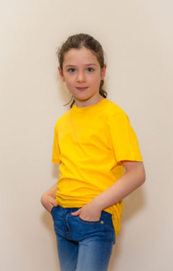 футболка детская для девочек желтая