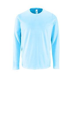 Мужская футболка с длинным рукавом небесного цвета