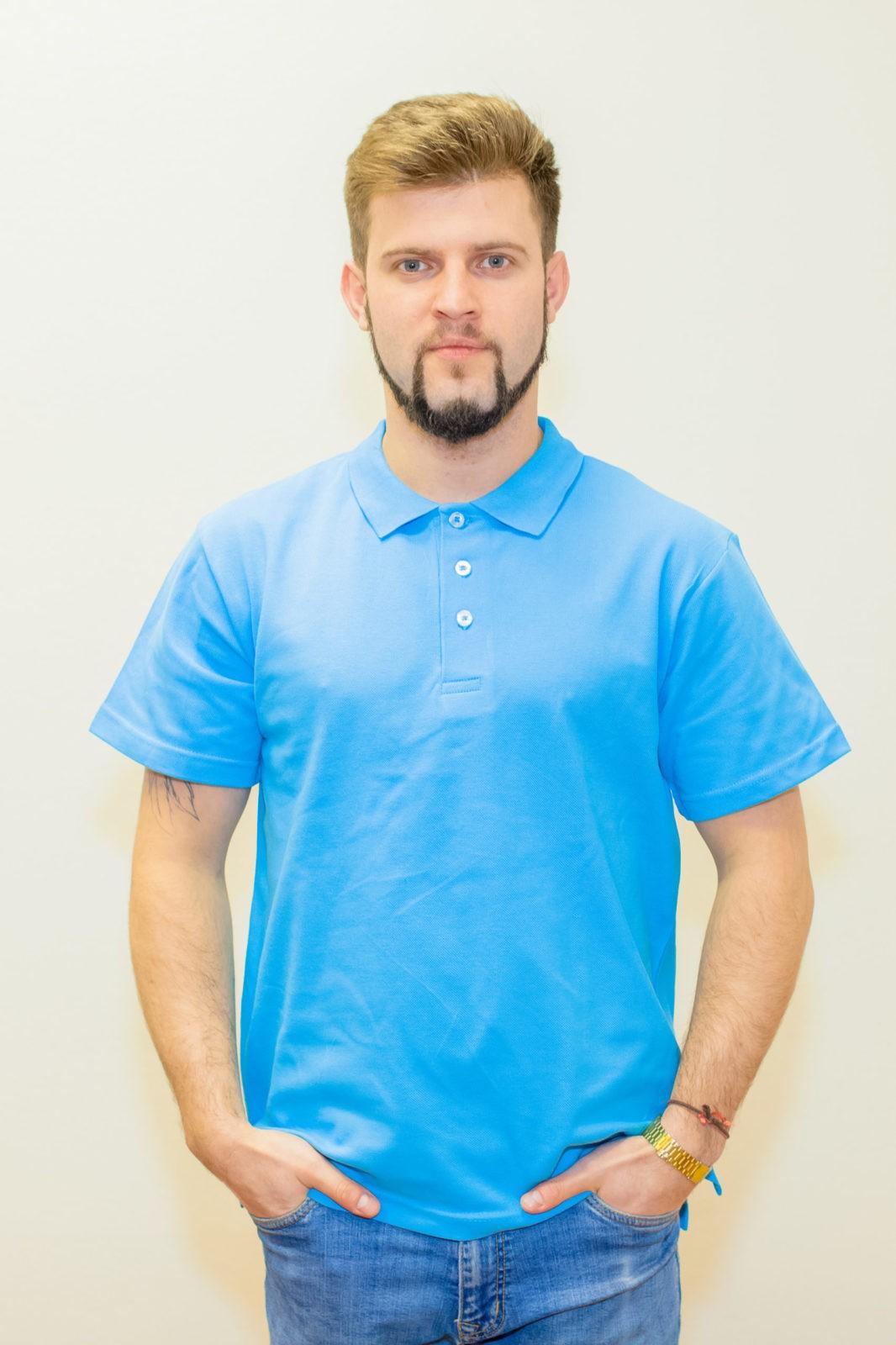 рубашка-поло мужская голубая