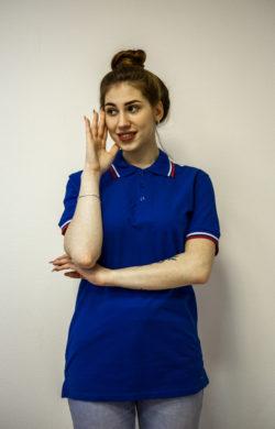 Женская футболка поло синего цвета