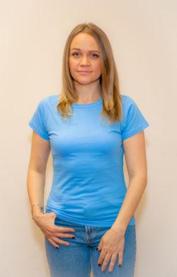 футболка женская голубая